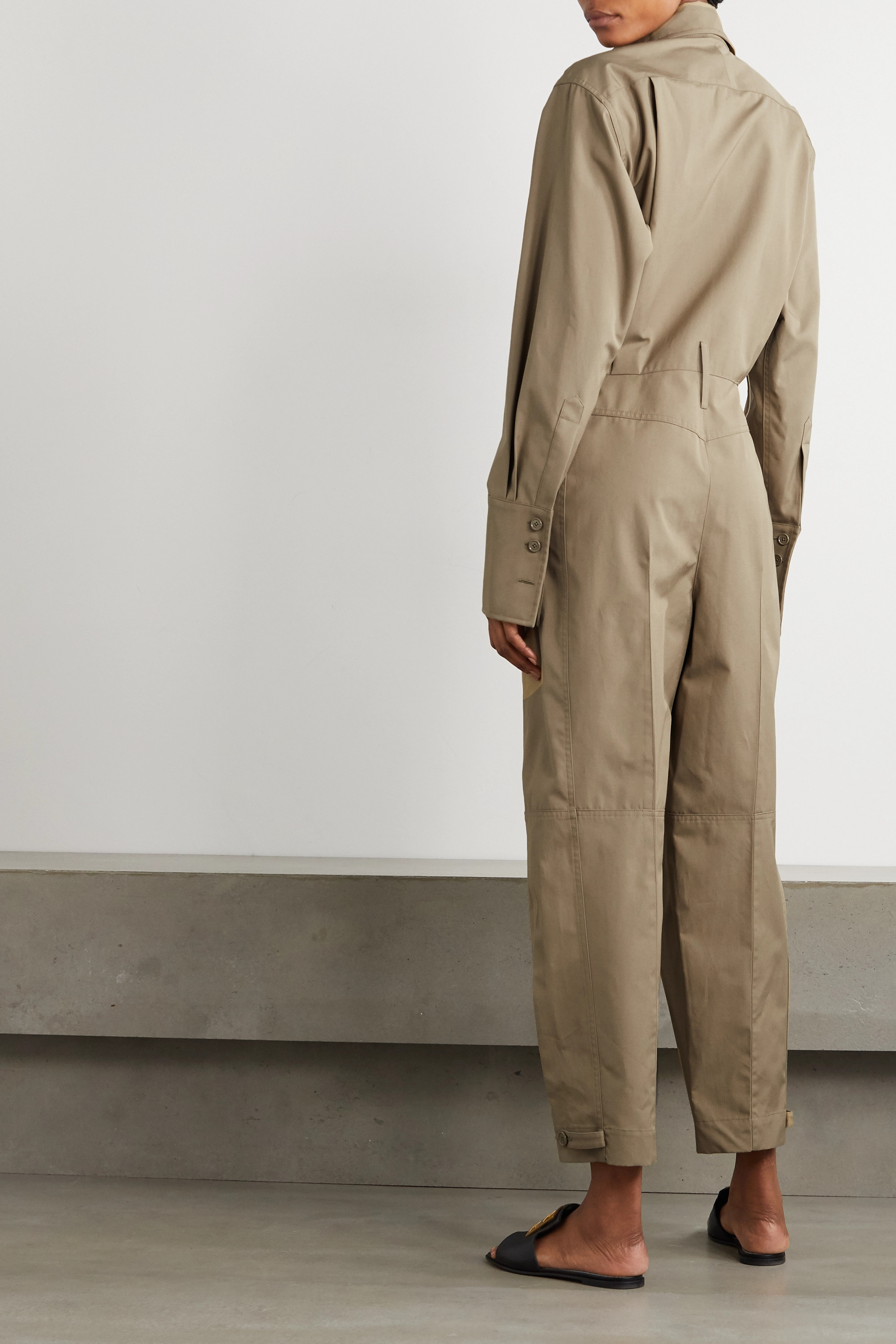 Army Green Pleated Cotton Jumpsuit | Givenchy