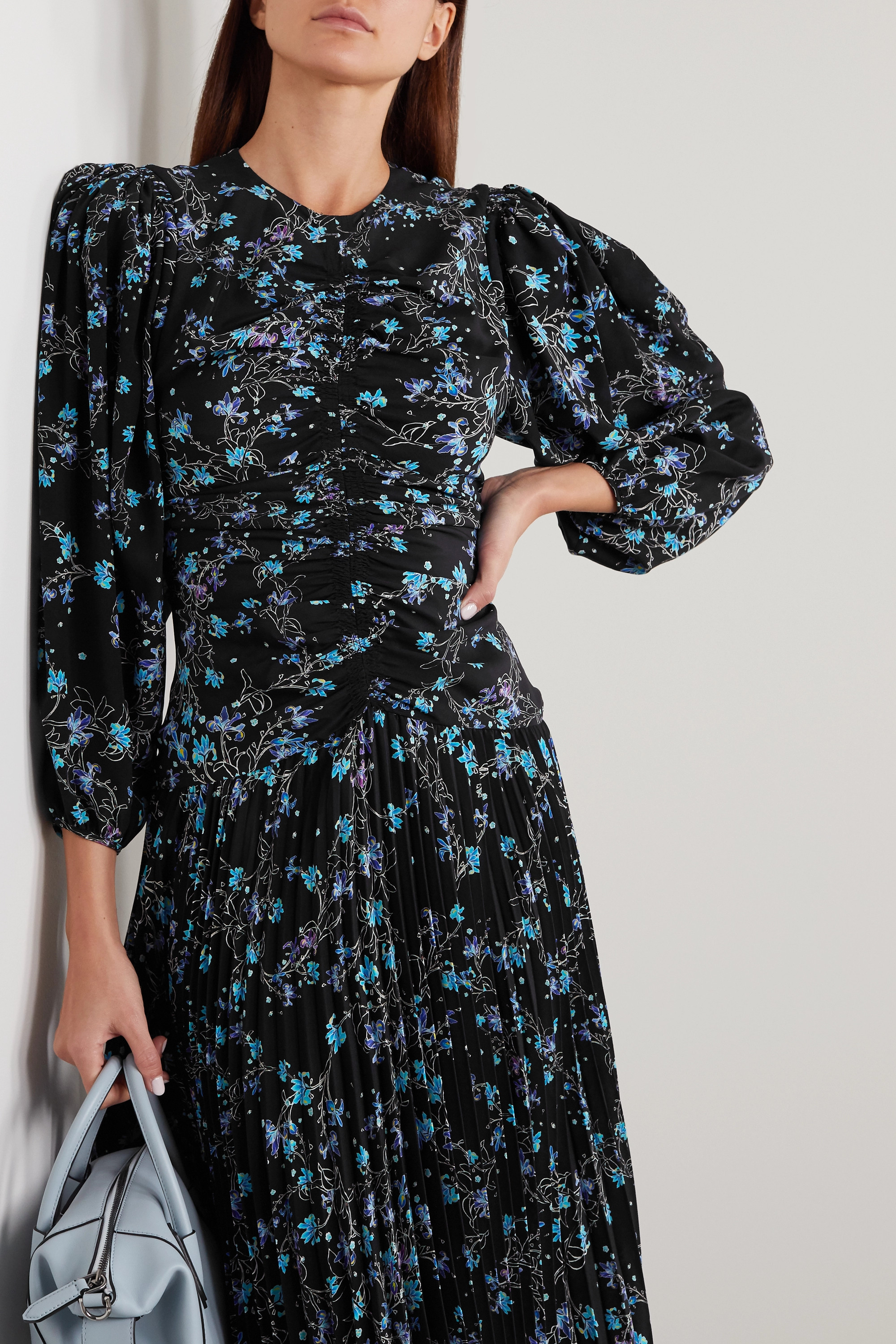 Givenchy Gathered pleated floral-print silk crepe de chine midi dress