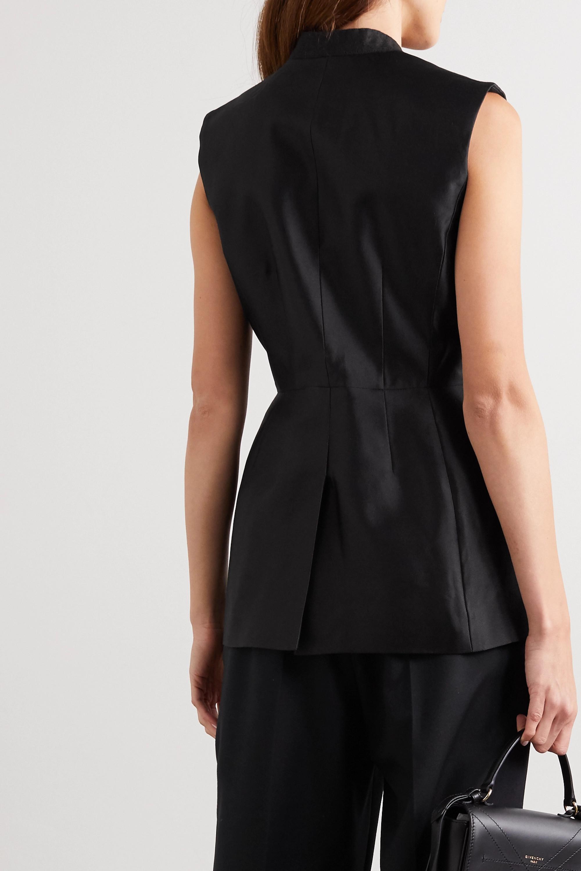 Givenchy Veste sans manches à double boutonnage en satin de laine et de soie mélangées