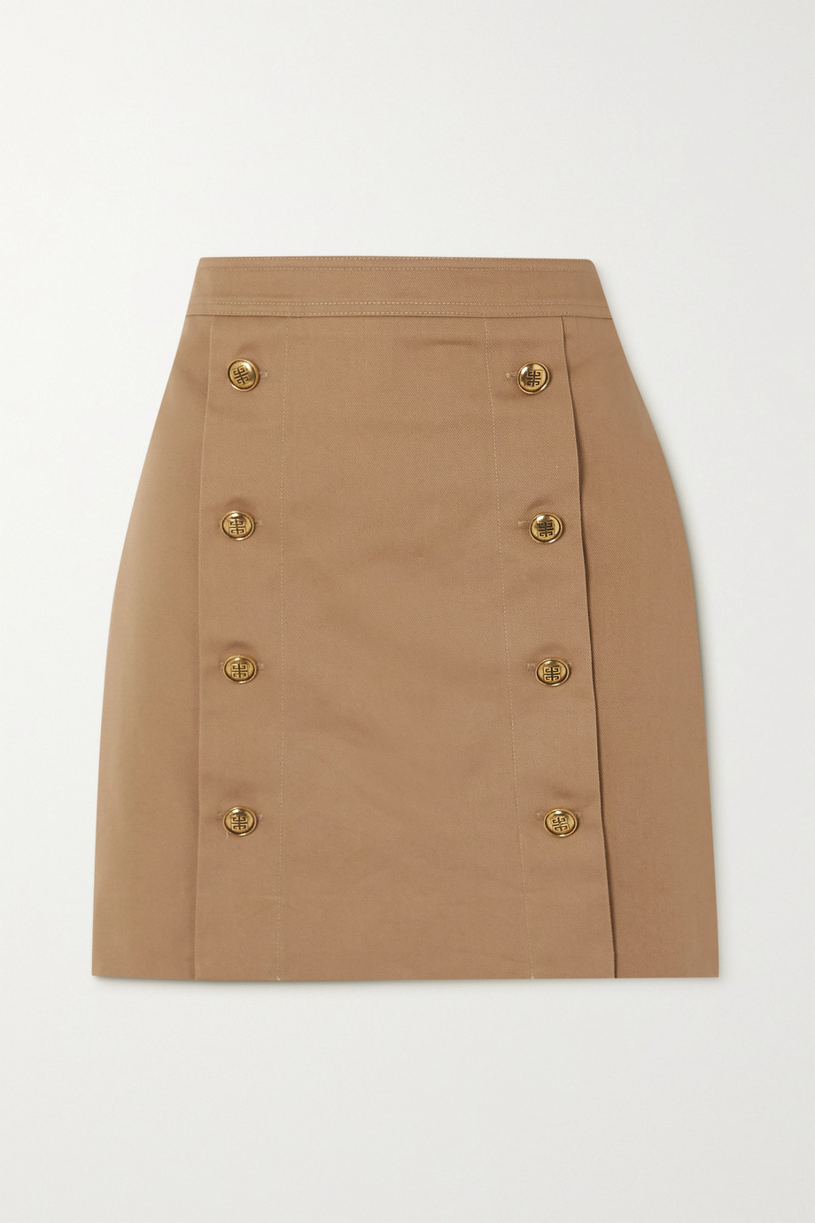 Givenchy Button-embellished cotton-twill mini skirt