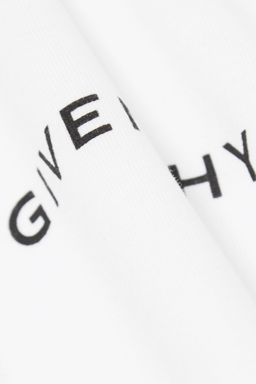 Givenchy Zweifarbiges T-Shirt aus Baumwoll-Jersey mit Popelinebesätzen und Print
