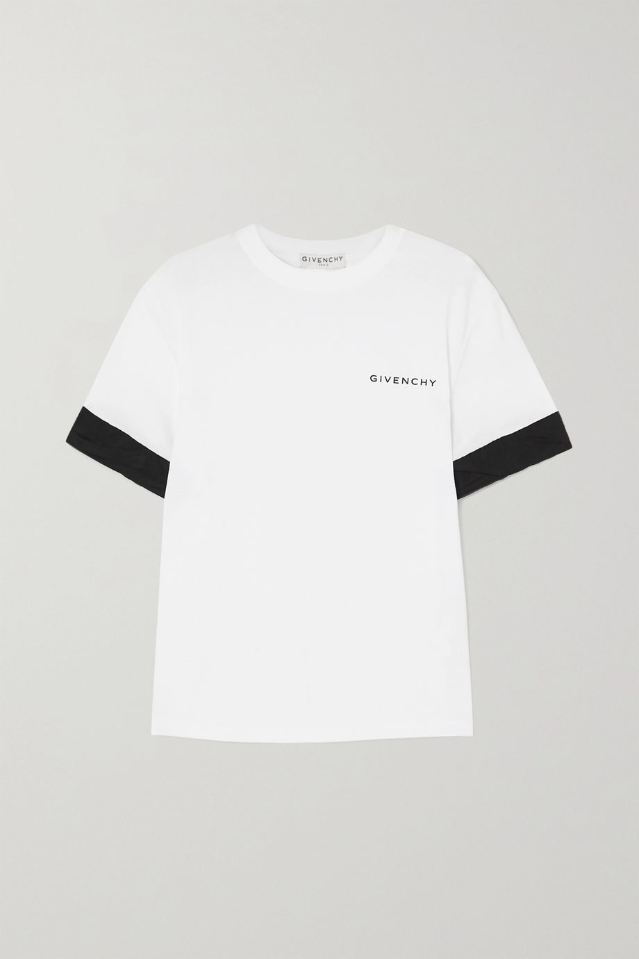 Givenchy Two-tone poplin-trimmed printed cotton-jersey T-shirt
