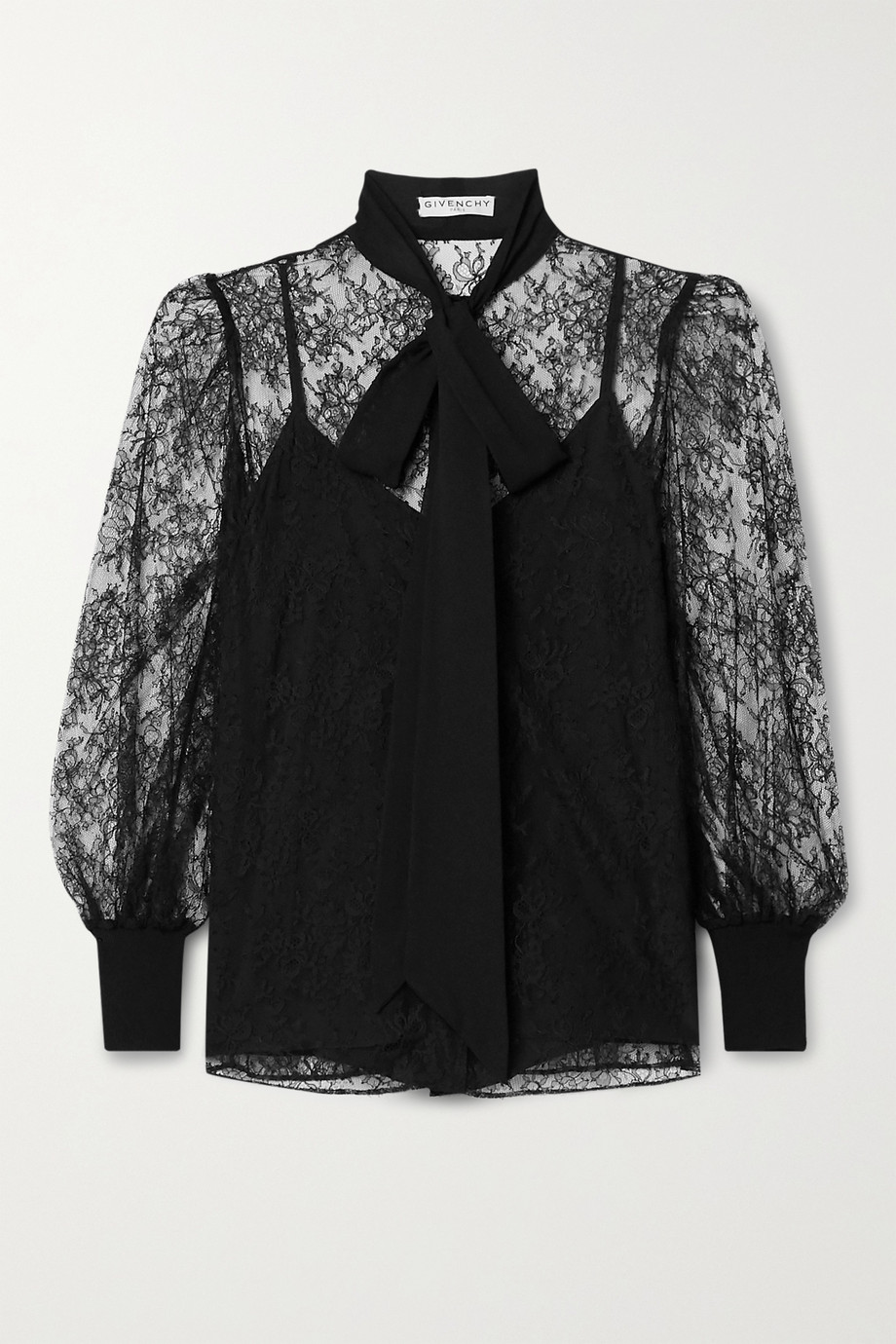 Givenchy Pussy-bow silk crepe de chine-trimmed lace blouse