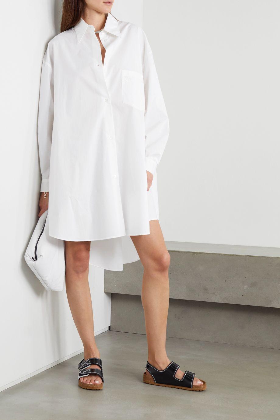 MM6 Maison Margiela Robe-chemise oversize en popeline de coton à broderies