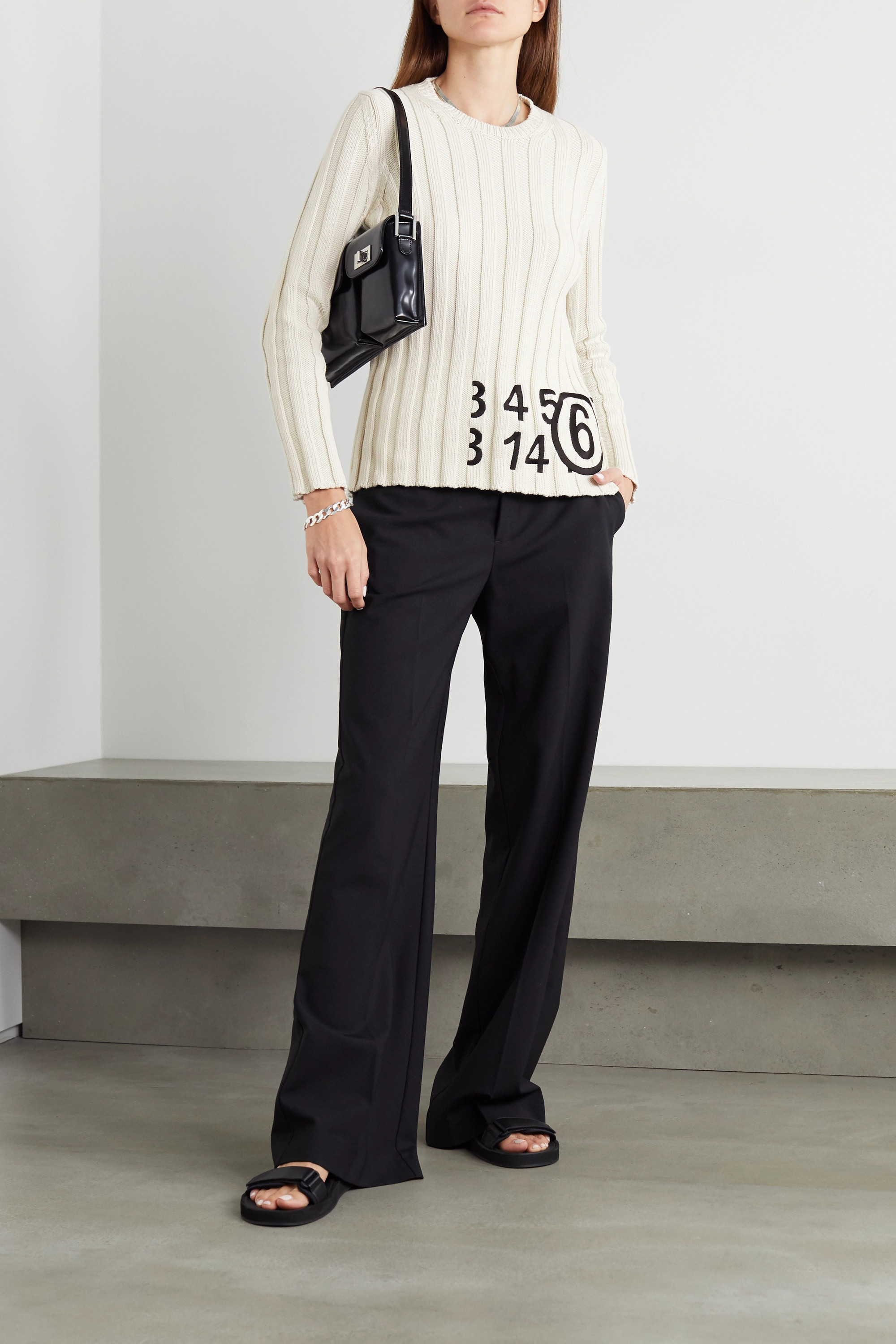 MM6 Maison Margiela Embroidered ribbed cotton sweater