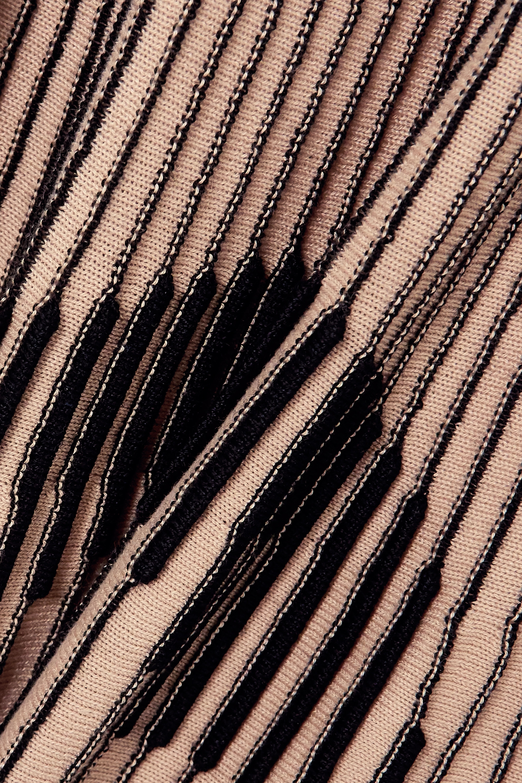 Beige Ribbed Intarsia Cotton-blend Midi Skirt | Mm6 Maison Margiela