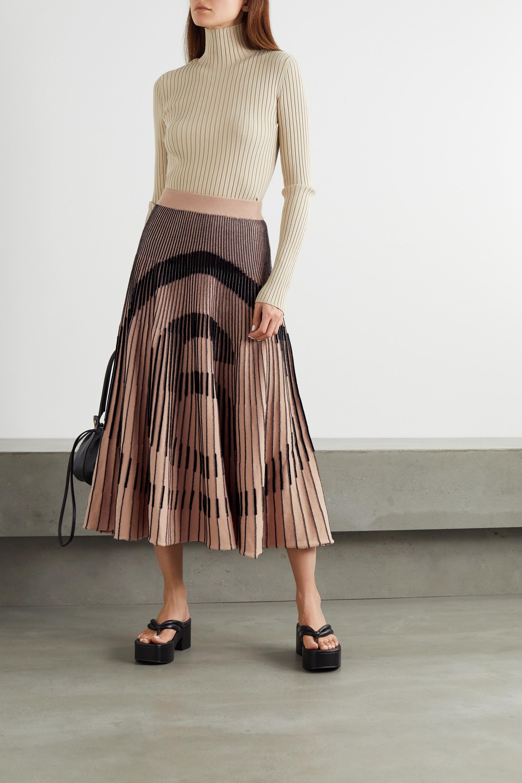 Beige Ribbed Intarsia Cotton-blend Midi Skirt   Mm6 Maison Margiela