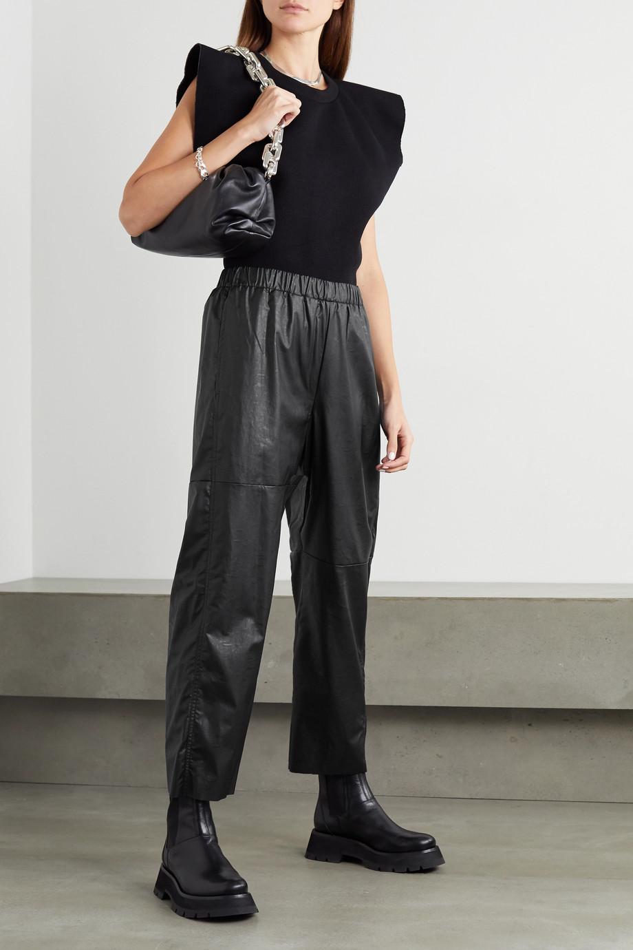 MM6 Maison Margiela Cropped faux leather straight-leg pants