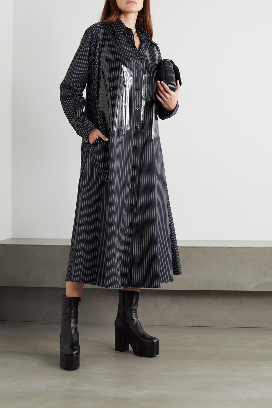 MM6 Maison Margiela Striped coated cotton-poplin maxi shirt dress
