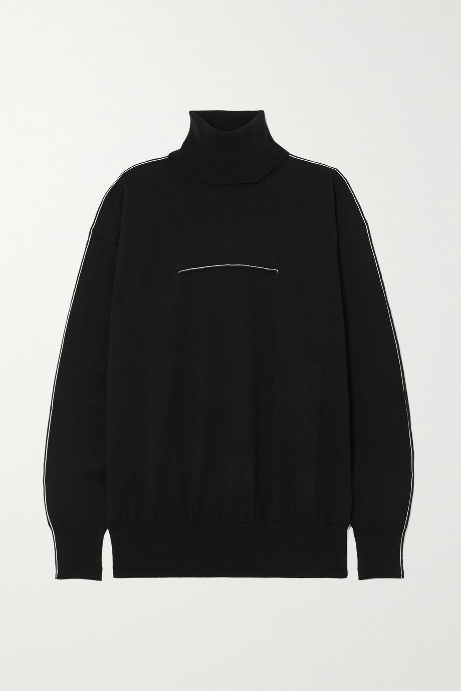 MM6 Maison Margiela Embroidered cotton and cashmere-blend turtleneck sweater