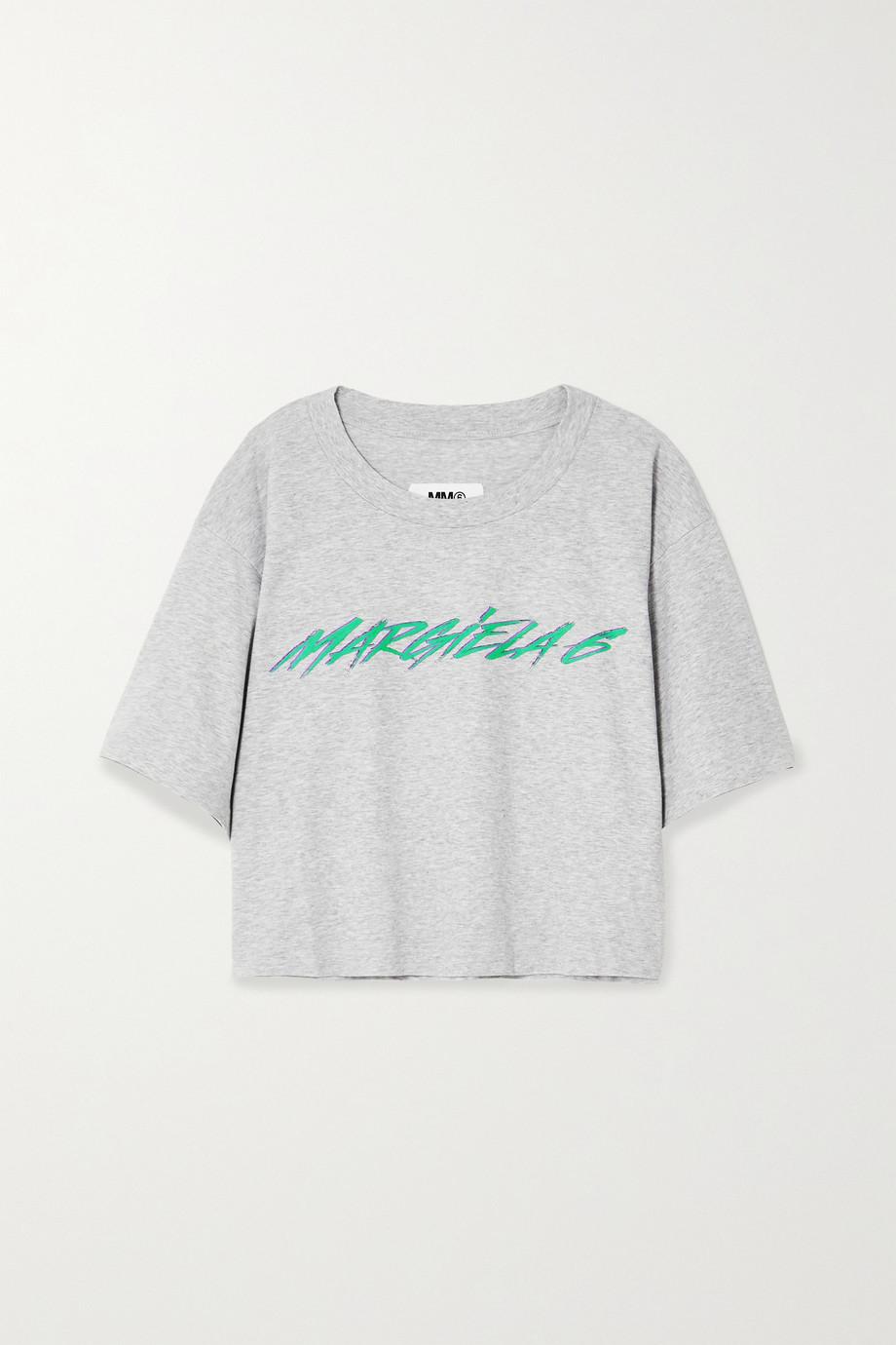 MM6 Maison Margiela Printed mélange cotton-jersey T-shirt