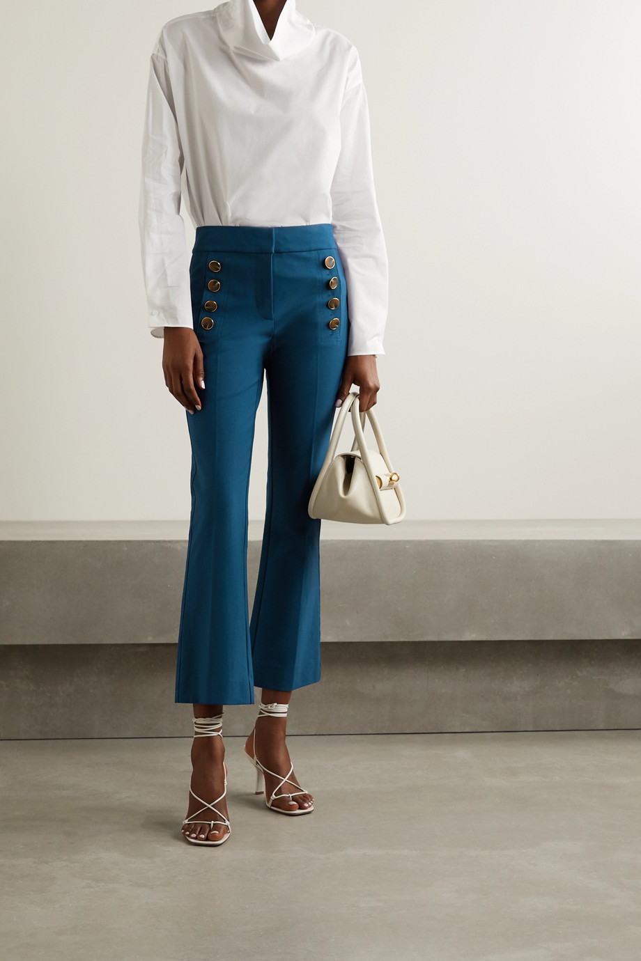 Derek Lam 10 Crosby Adeline cropped button-embellished stretch-cotton flared pants