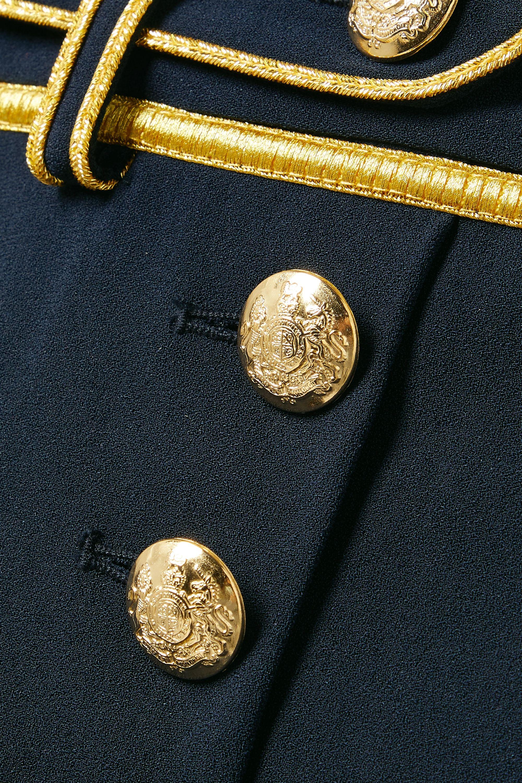 Midnight Blue Laetitia Pleated Metallic-trimmed Crepe Shorts | Derek Lam 10 Crosby