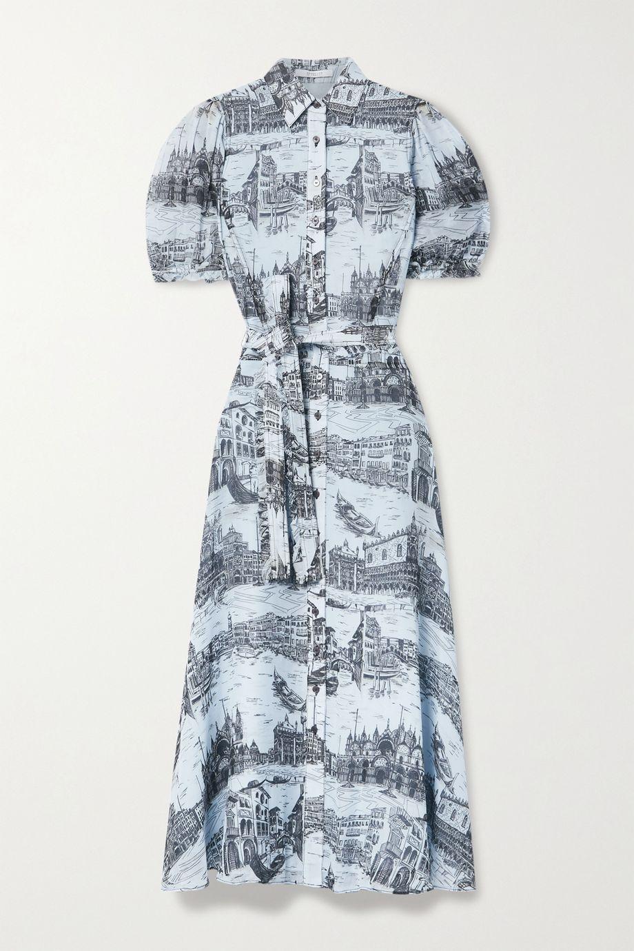 Derek Lam 10 Crosby Faye Midi-Hemdblusenkleid aus bedrucktem Crêpe de Chine mit Bindegürtel
