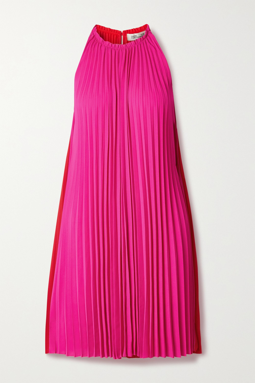 Diane von Furstenberg Amberly pleated two-tone crepe dress