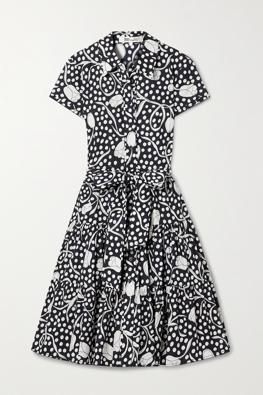 Diane von Furstenberg Robe-chemise en popeline de coton imprimée à volants et à ceinture Zaria