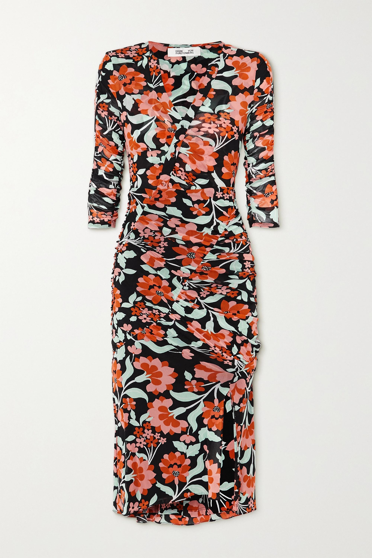 Diane von Furstenberg Briella wrap-effect ruched floral-print jersey midi dress