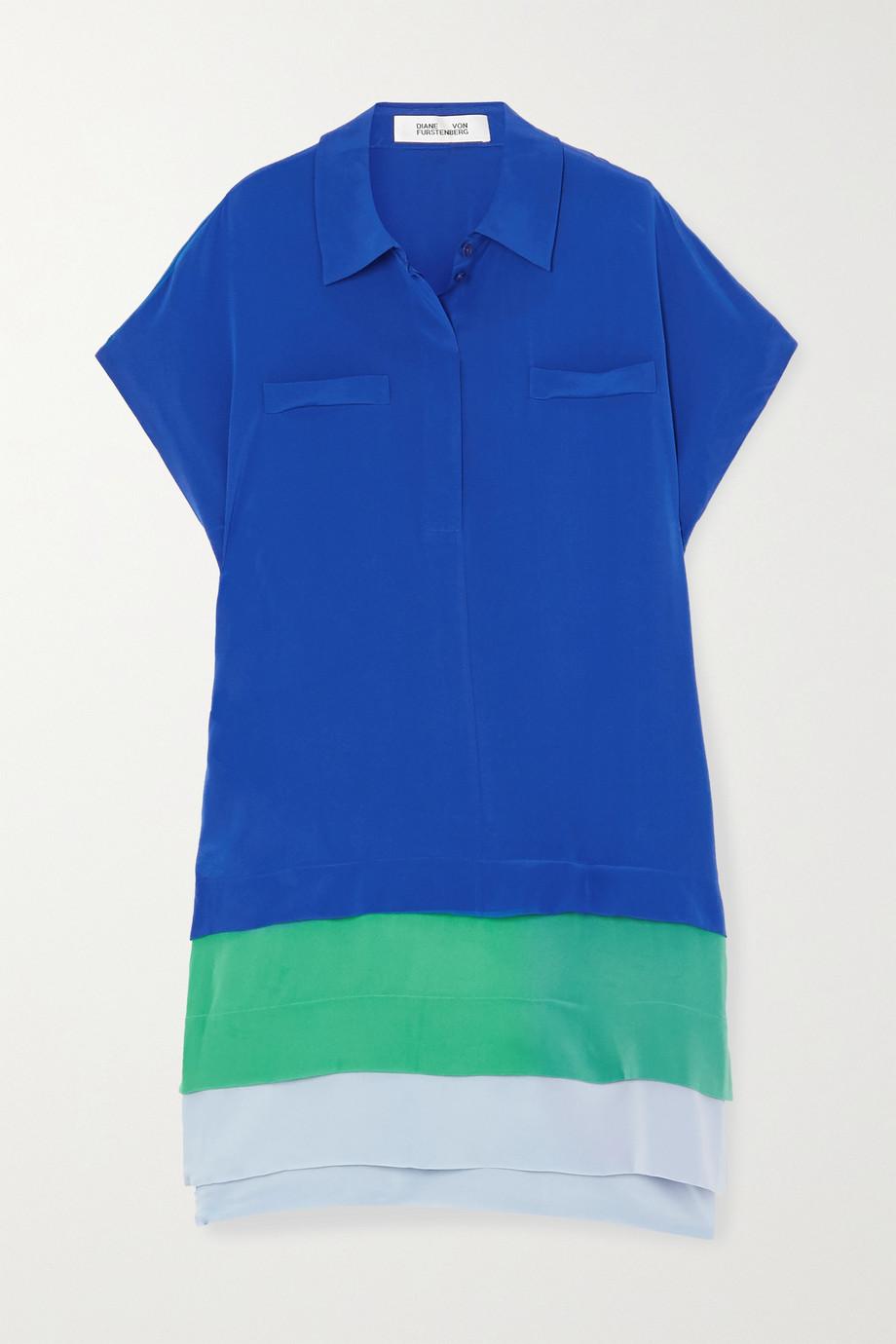 Diane von Furstenberg Hatsu 层接式拼色真丝双绉迷你衬衫式连衣裙
