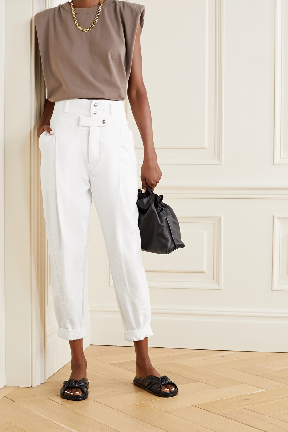 FRAME Twisted pleated cotton tapered pants