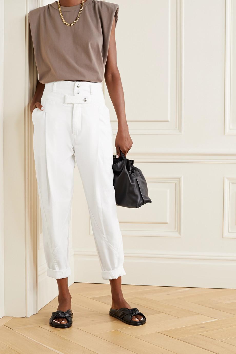 FRAME Pantalon fuselé en coton à plis Twisted