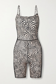 The Upside Zebra-print stretch playsuit