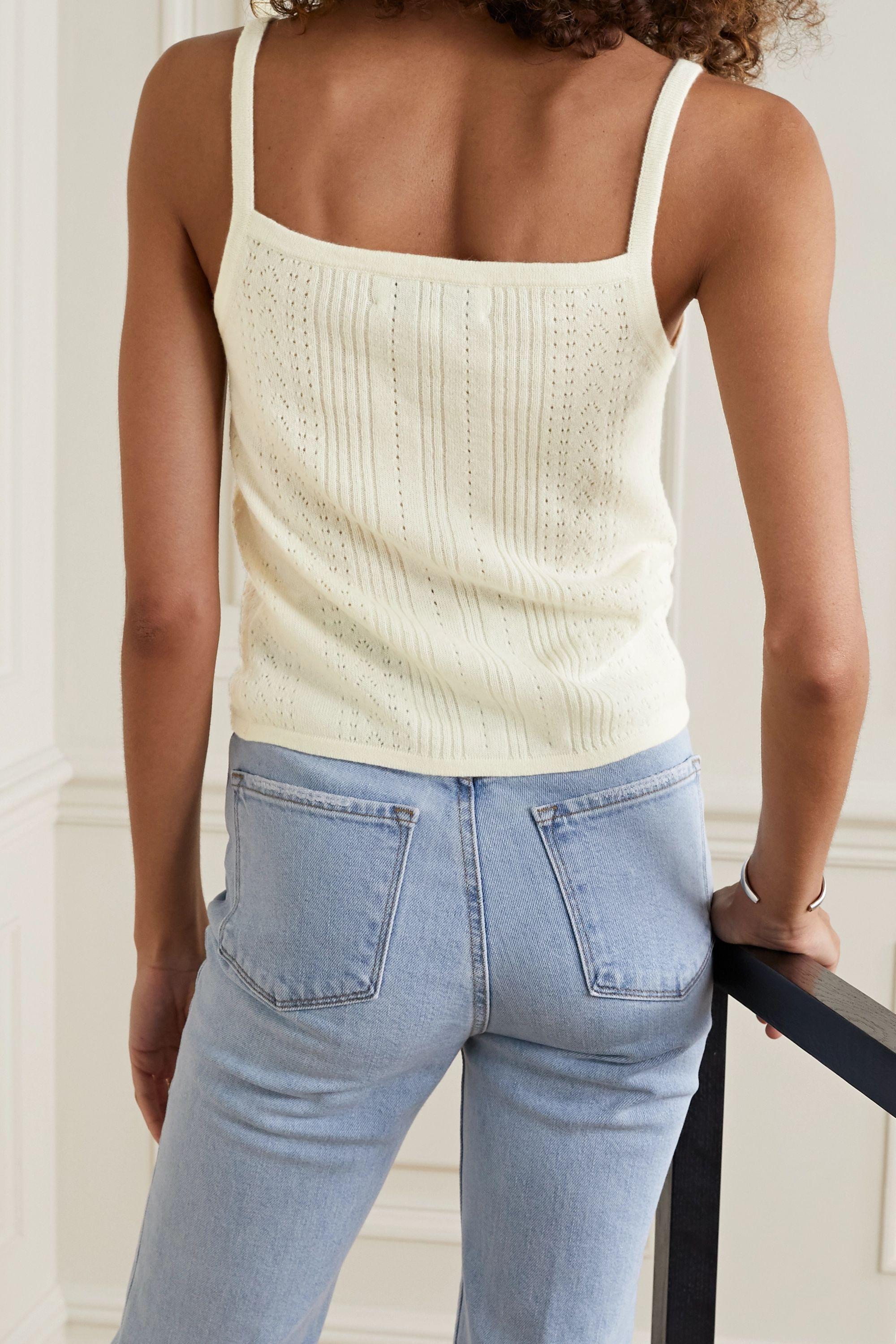 La Ligne Camille pointelle-knit cashmere tank