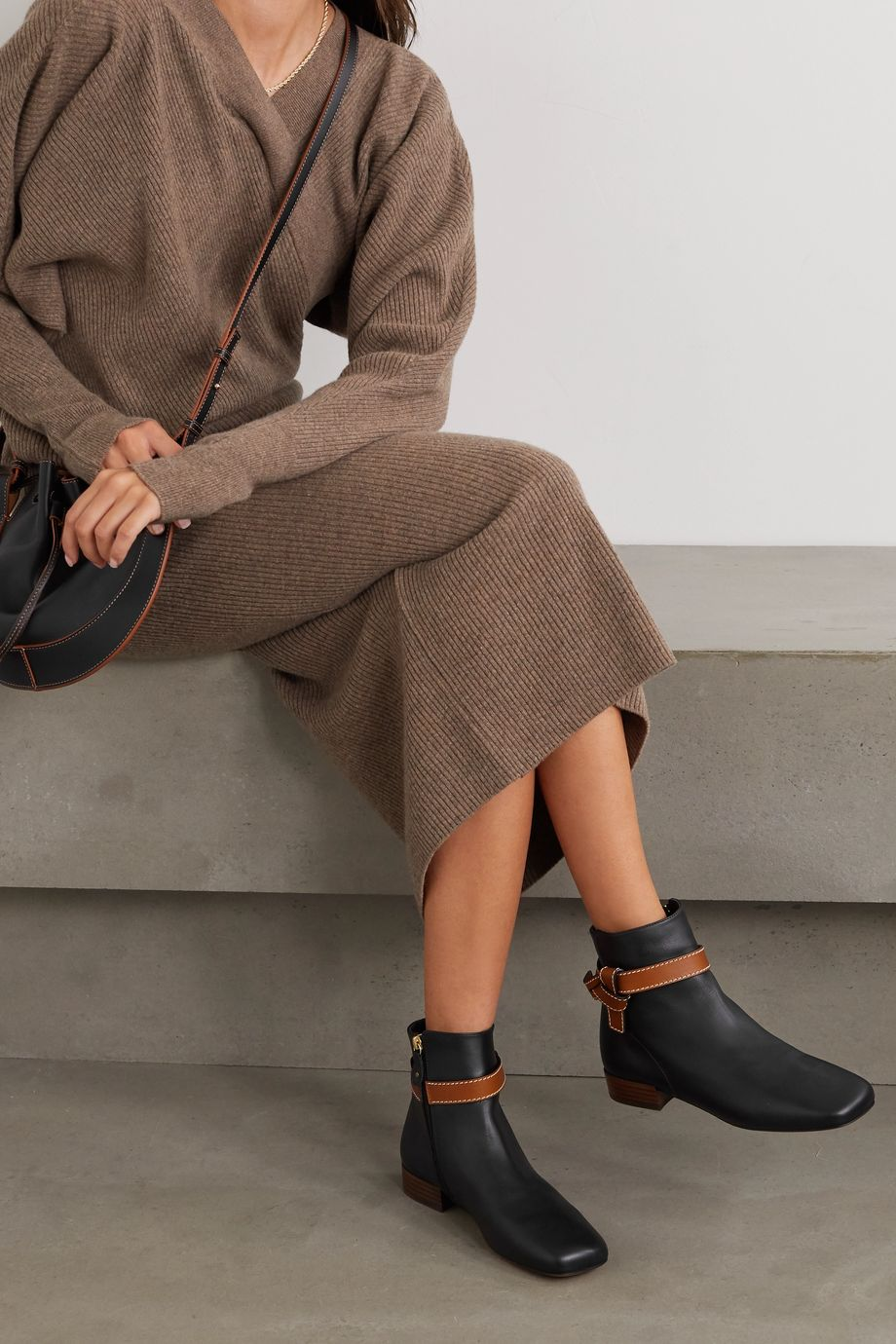 Loewe Gate topstitched two-tone leather ankle boots