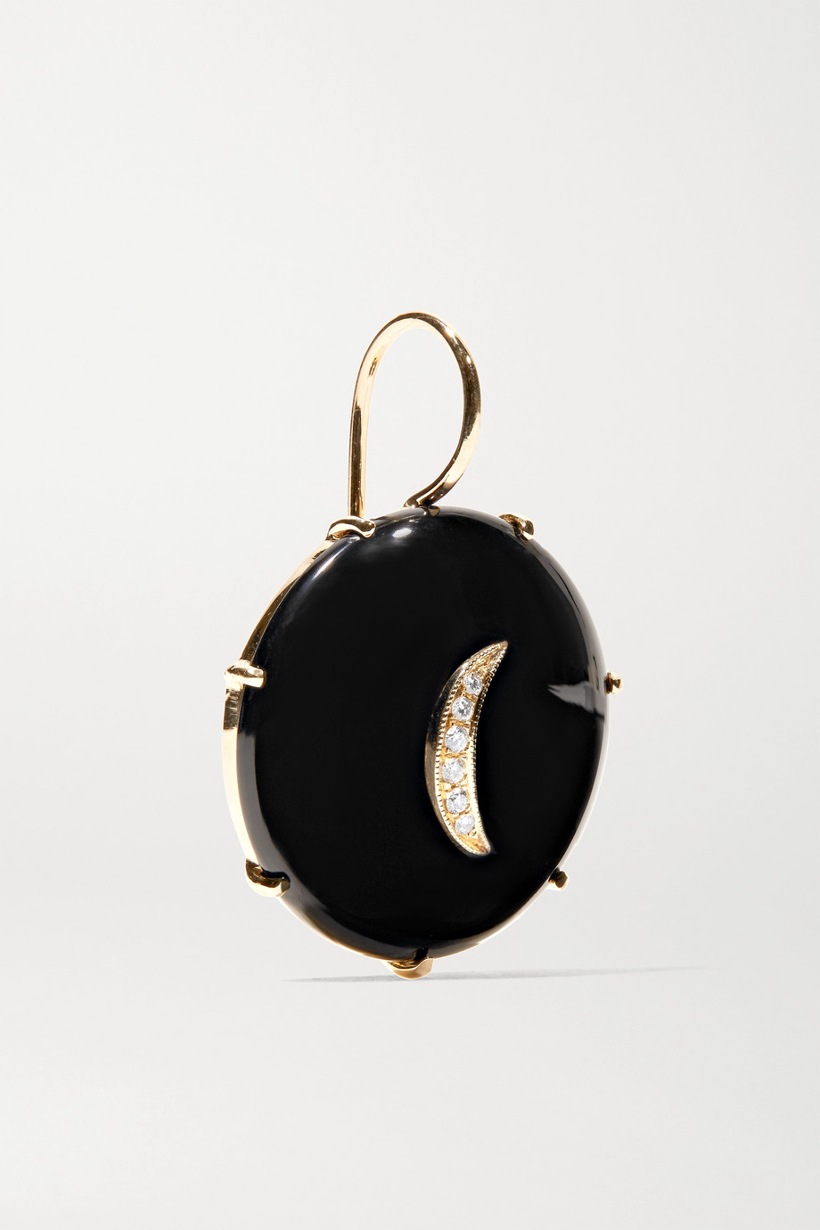 Andrea Fohrman 14-karat gold, onyx and diamond earrings