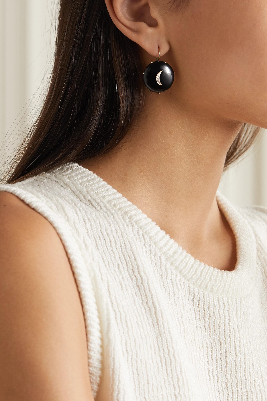 Andrea Fohrman 14-karat gold, onyx and diamond earrings