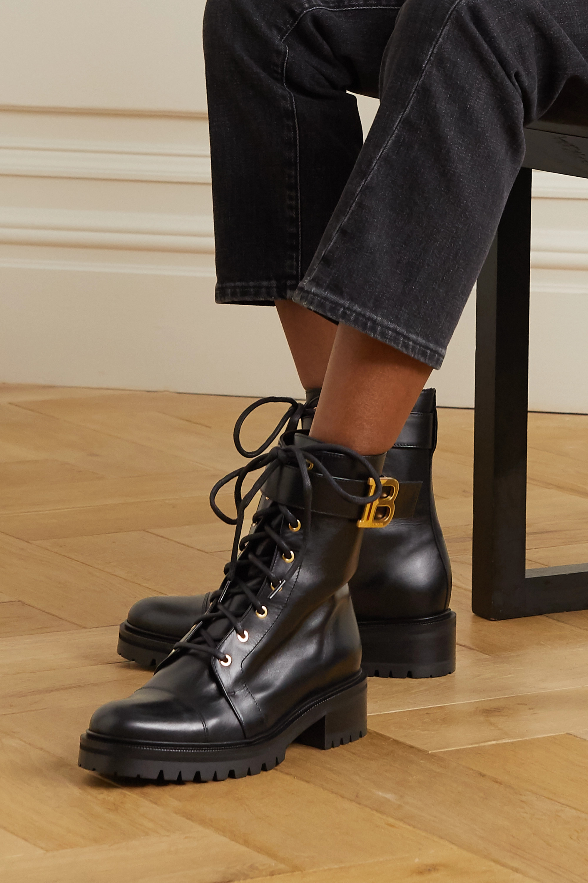 Balmain Ranger lace-up leather boots