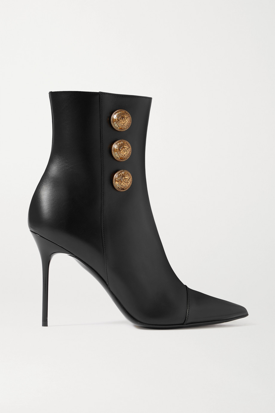 Balmain Button-embellished leather ankle boots