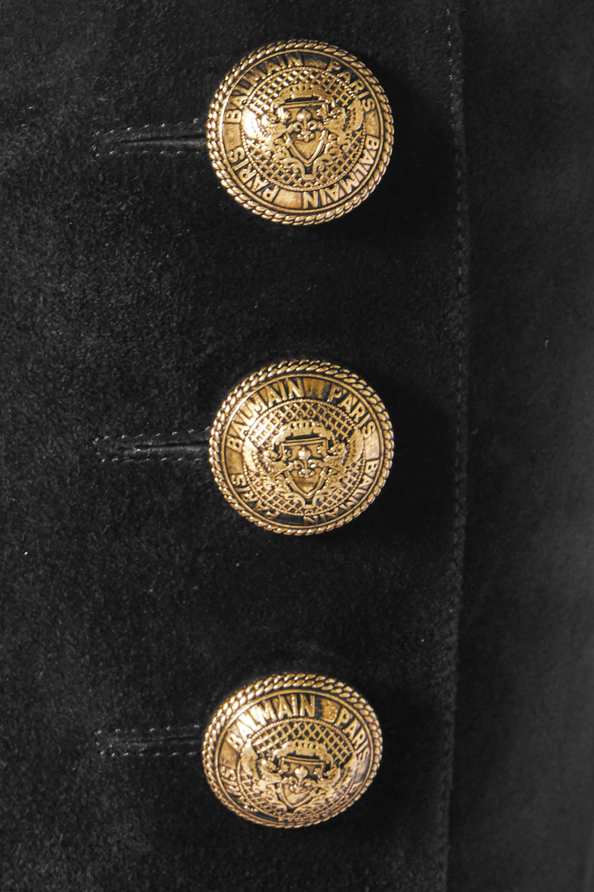 Balmain Button-embellished suede knee boots