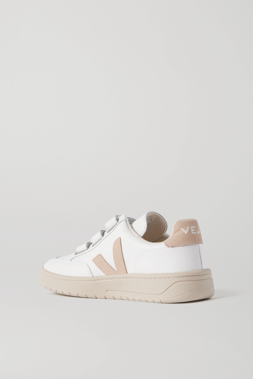 Veja V-Lock suede-trimmed leather sneakers