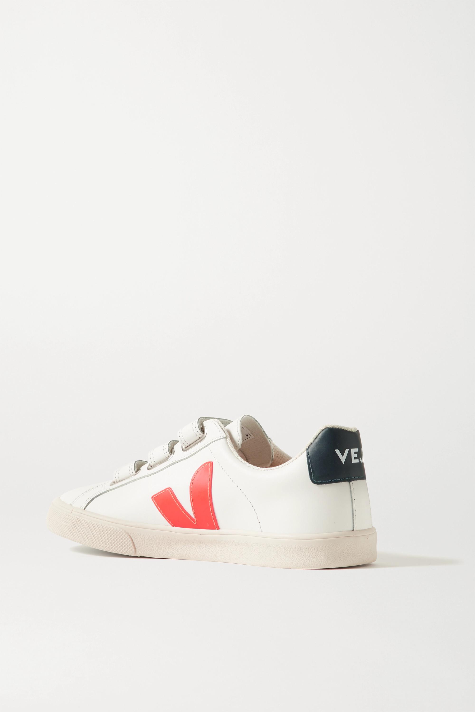 Veja + NET SUSTAIN 3-Lock Logo Sneakers aus Leder mit Gummibesatz
