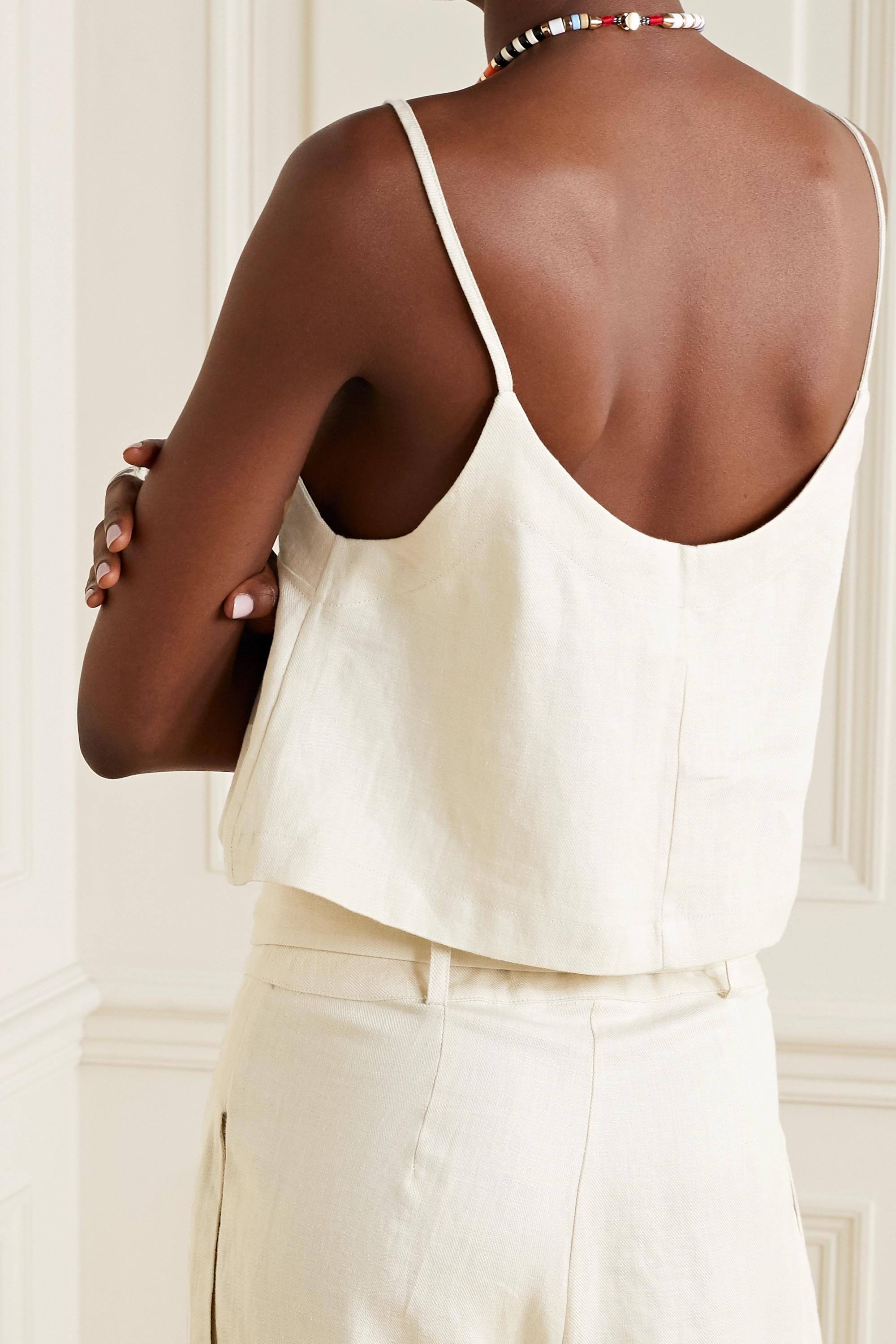 BONDI BORN + NET SUSTAIN cropped linen-twill camisole