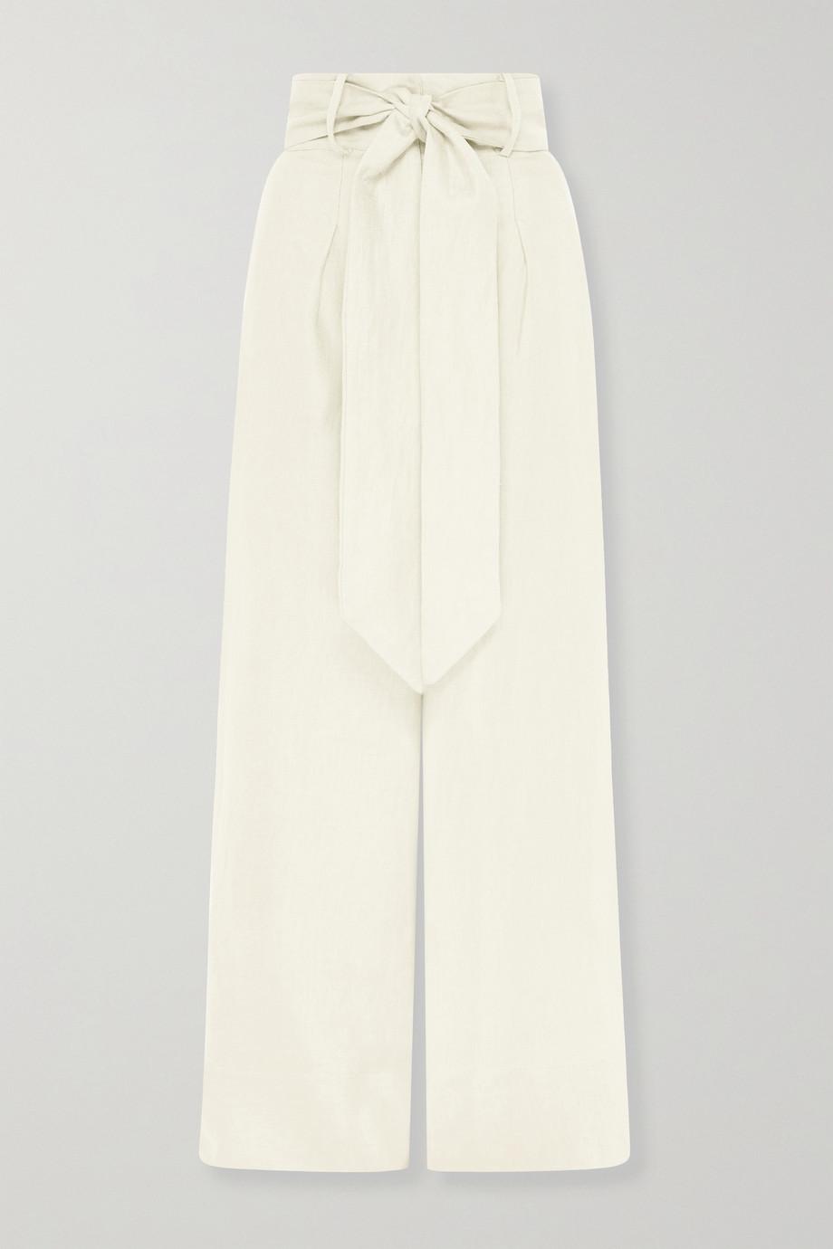 BONDI BORN + NET SUSTAIN Fancy belted linen-twill wide-leg pants