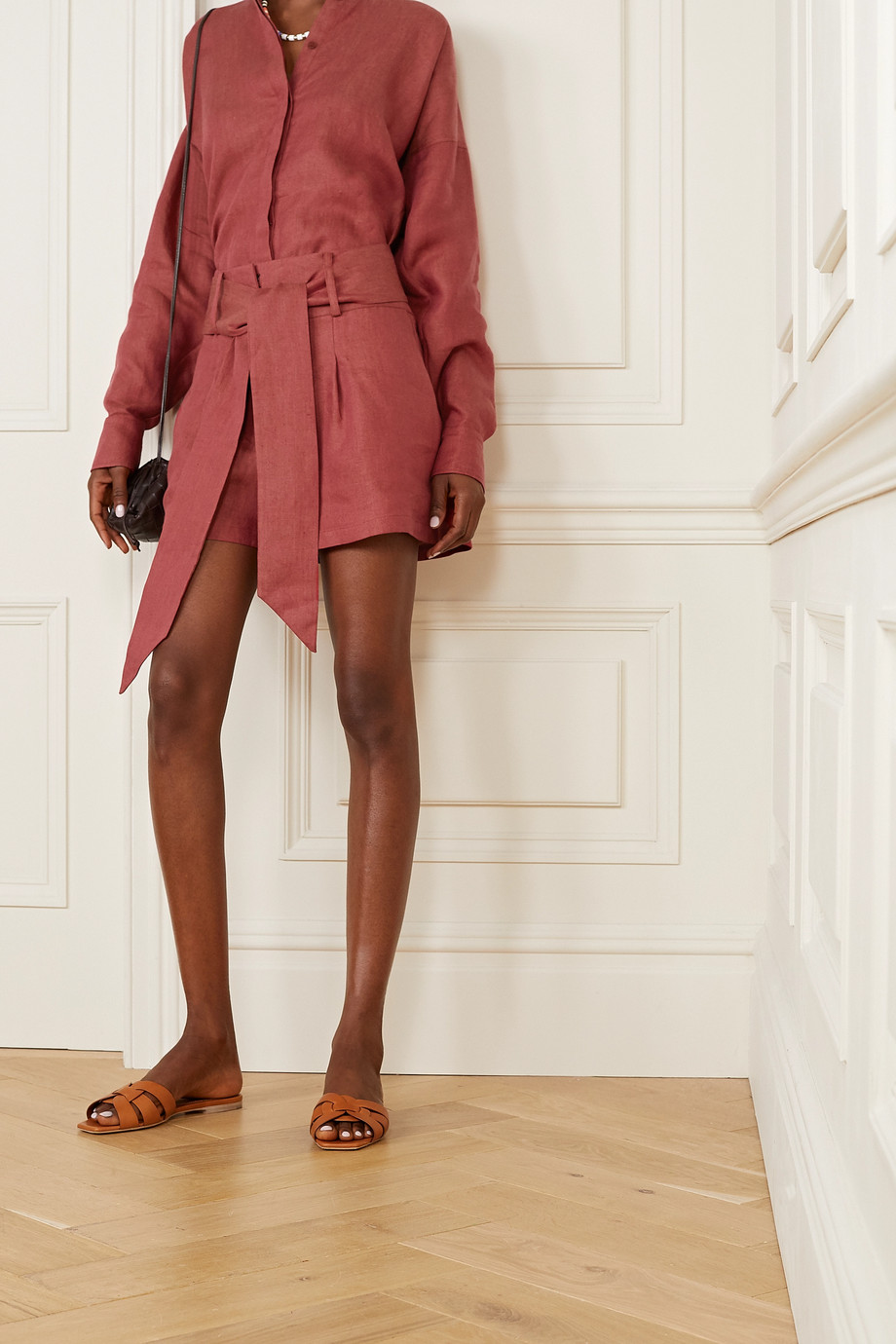 BONDI BORN + NET SUSTAIN Fancy belted linen shorts