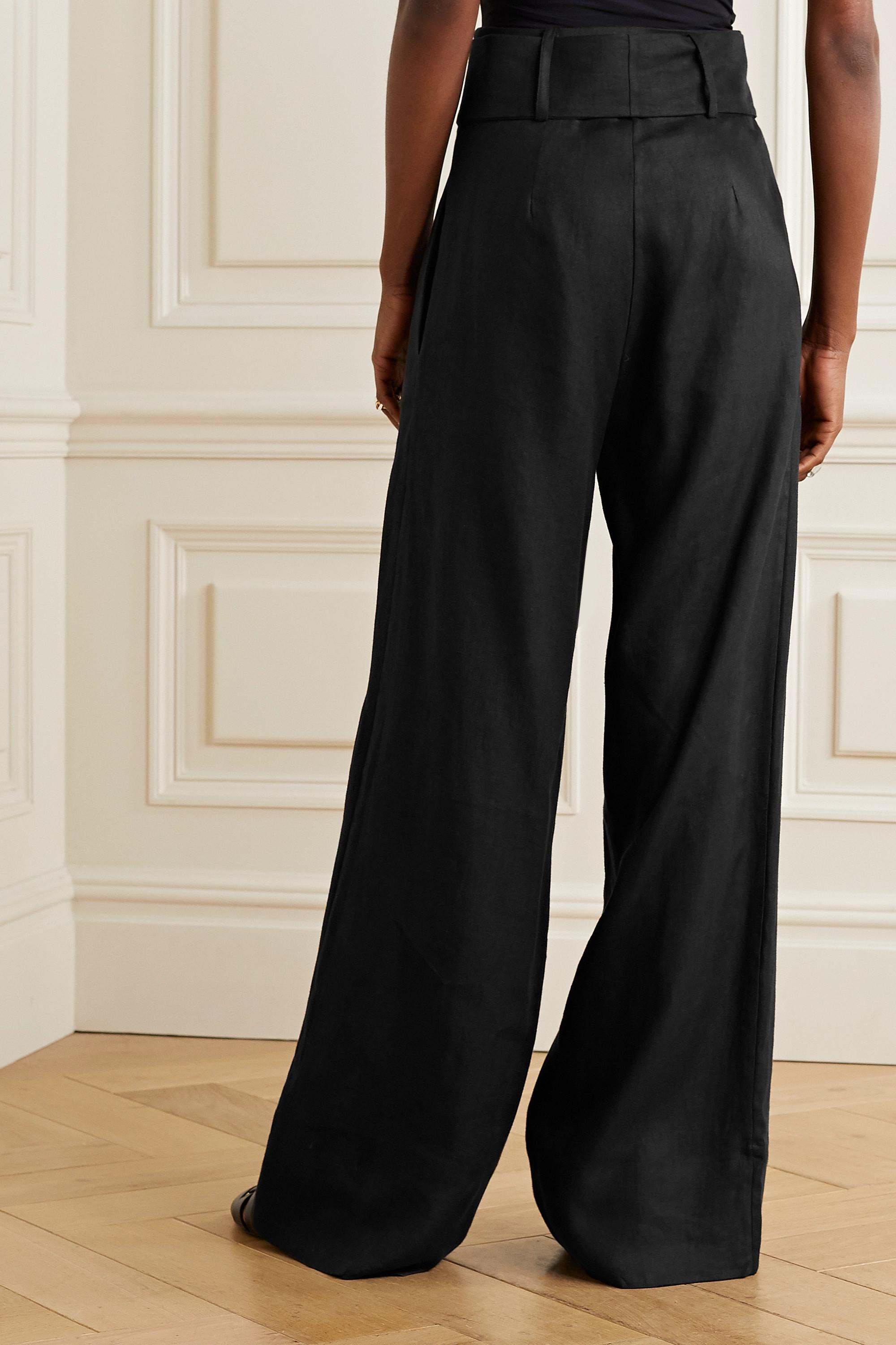 BONDI BORN Pantalon large en serge de lin à ceinture - NET SUSTAIN