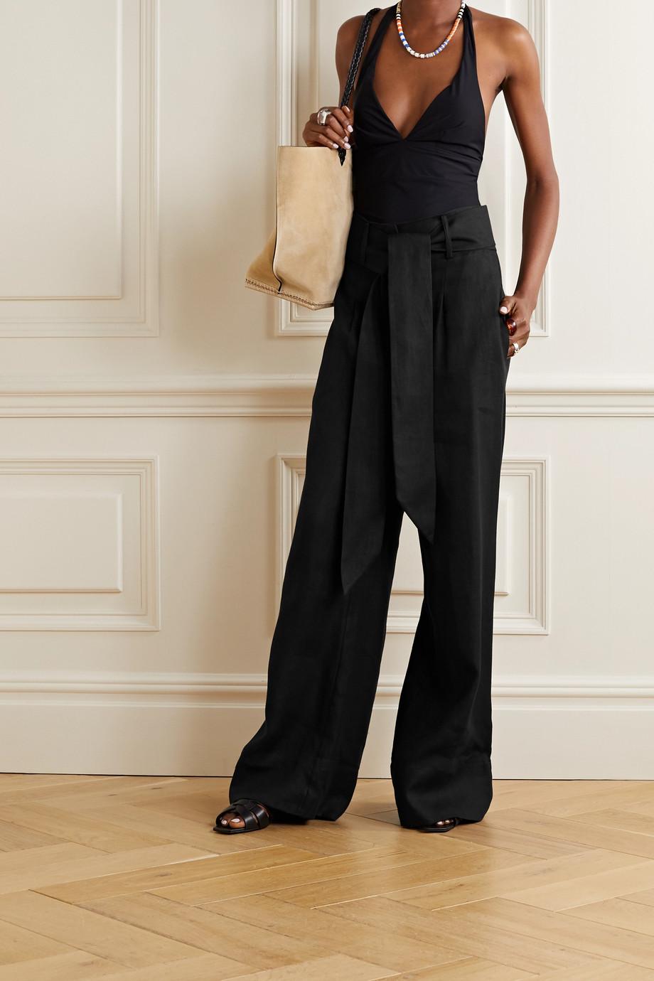 BONDI BORN + NET SUSTAIN belted linen-twill wide-leg pants