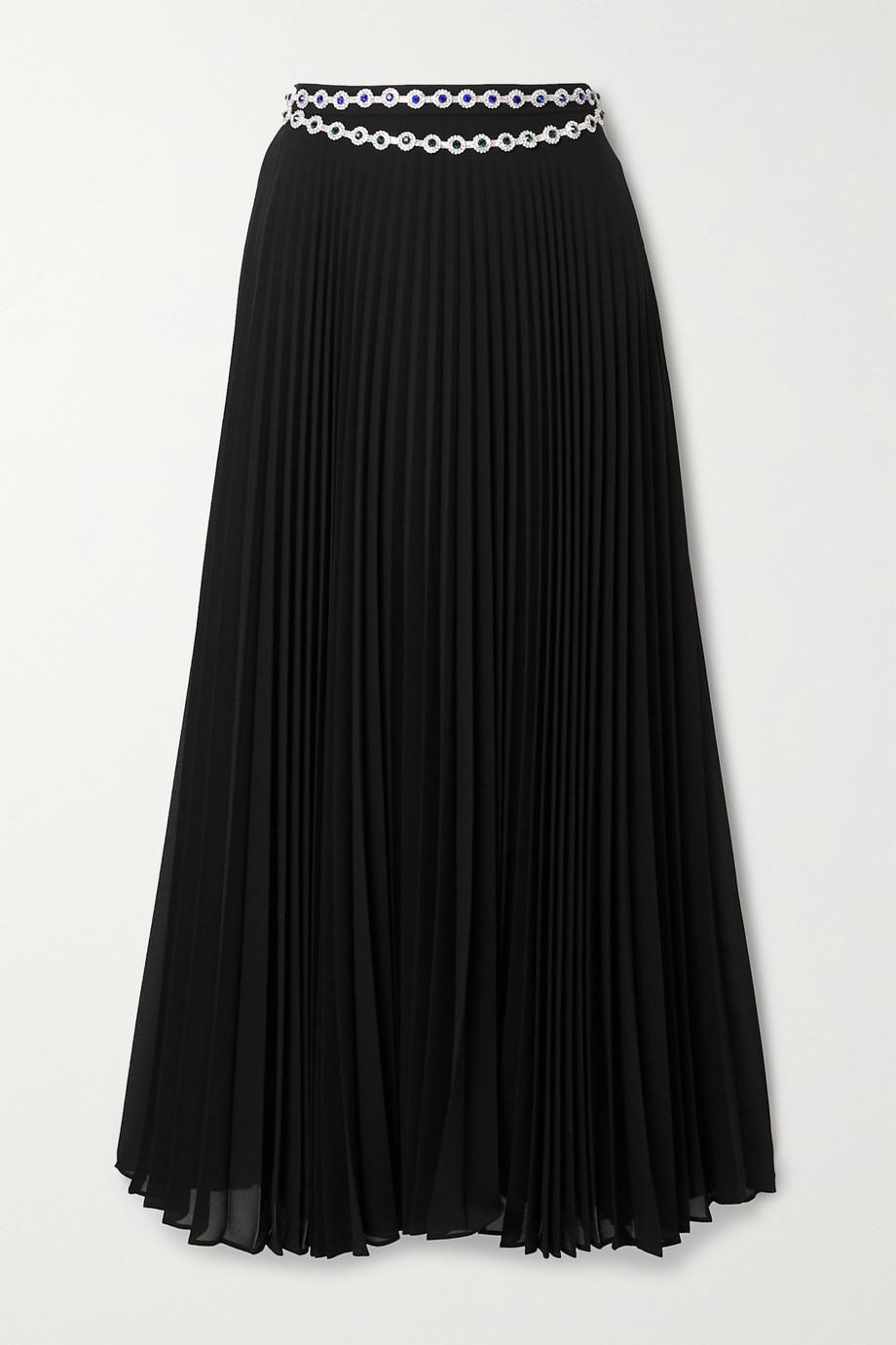 Christopher Kane Crystal-embellished pleated crepe midi skirt