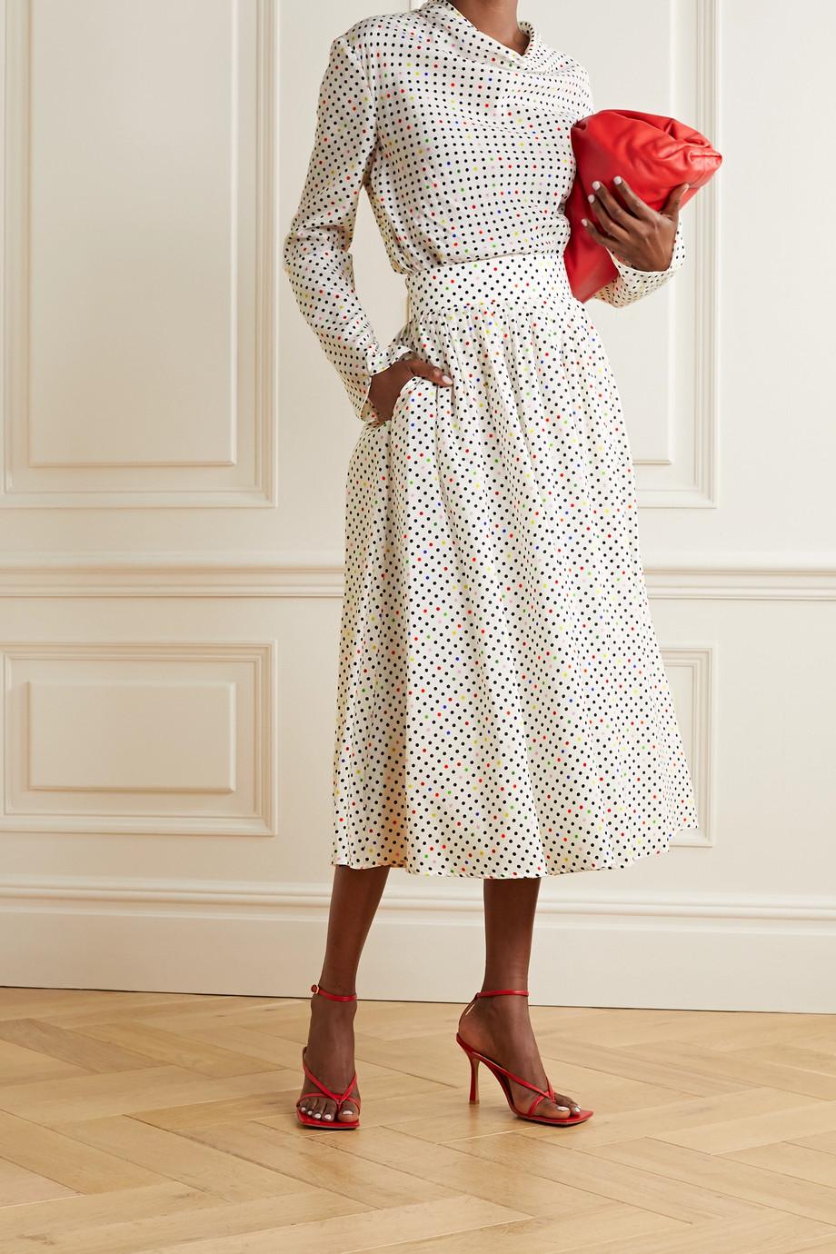 Christopher Kane Polka-dot cotton and silk-blend jacquard midi skirt