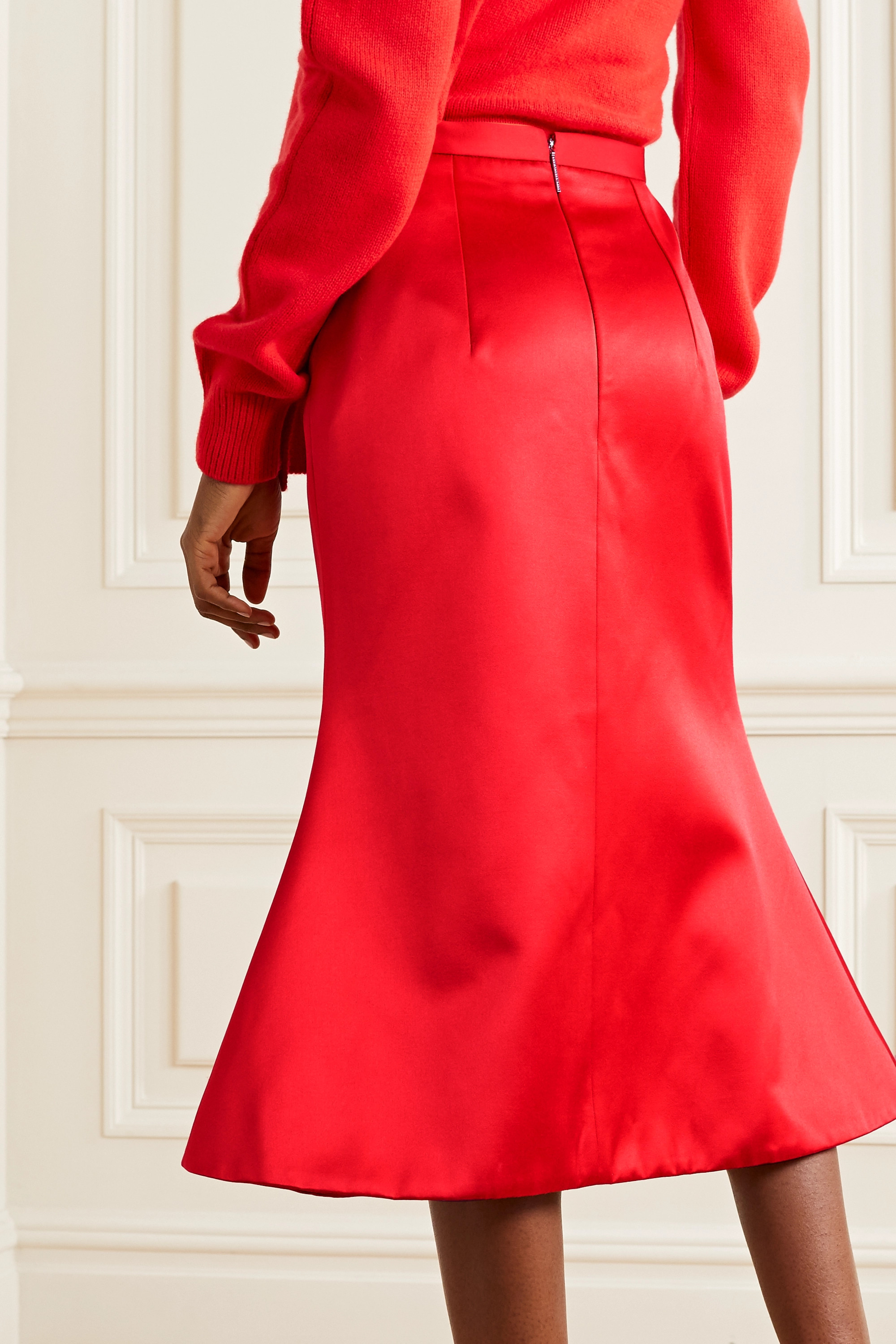 Christopher Kane Duchesse-satin midi skirt