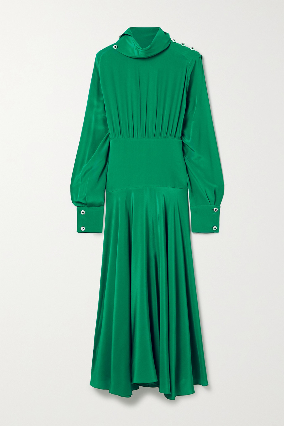 Christopher Kane Crystal-embellished pleated crepe de chine midi dress
