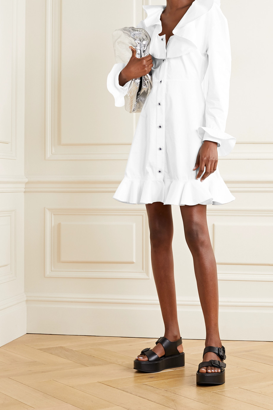 Christopher Kane Ruffled cotton-poplin mini dress