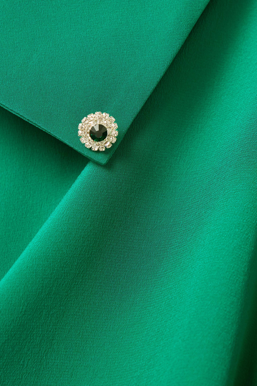 Green Draped Crepe De Chine Blouse   Christopher Kane