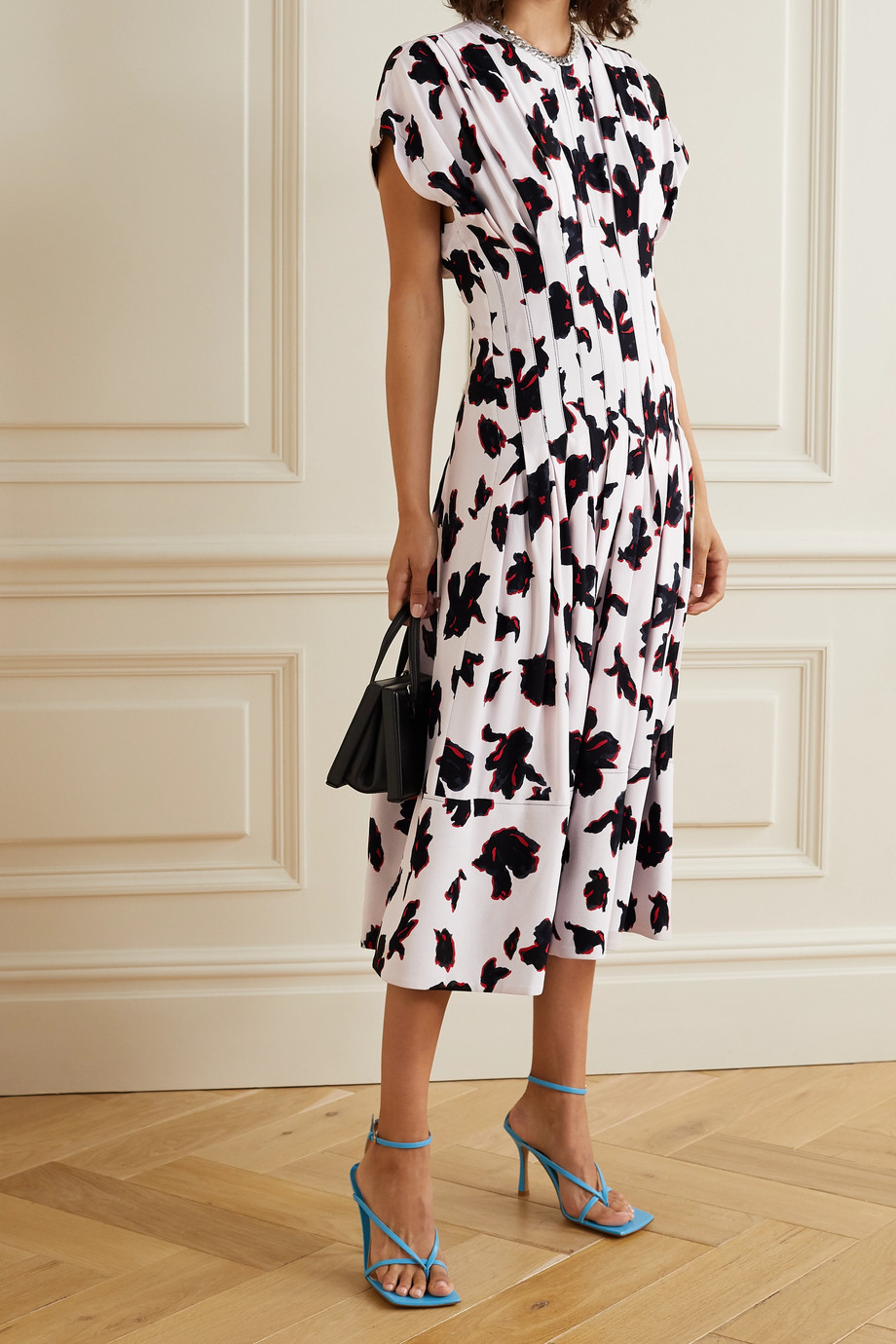 Proenza Schouler Pleated floral-print georgette midi dress