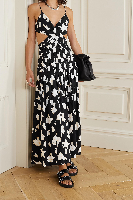 Proenza Schouler Robe longue croisée sur le devant en georgette à imprimé fleuri et à découpe