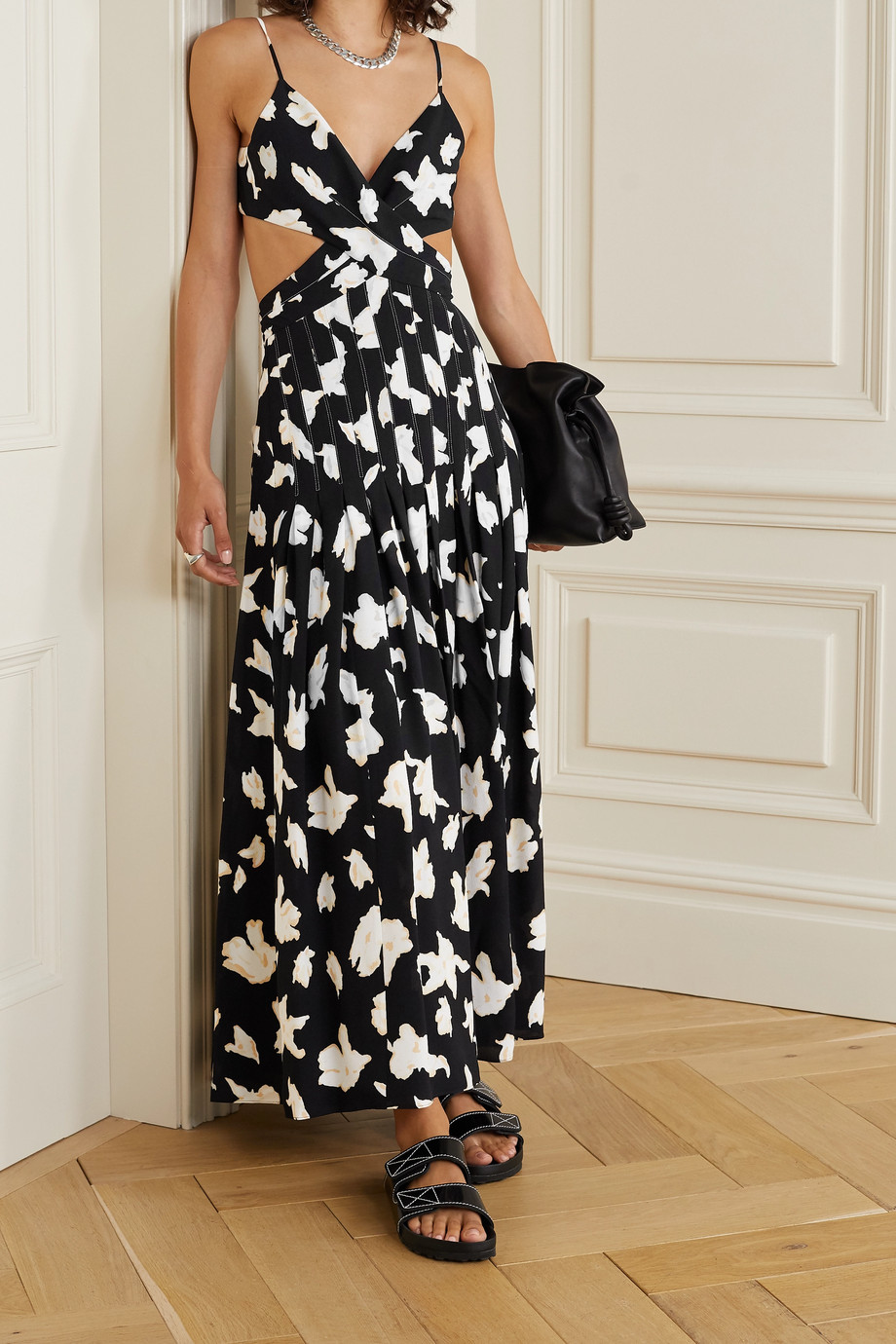Proenza Schouler Cutout wrap-effect pleated floral-print georgette maxi dress