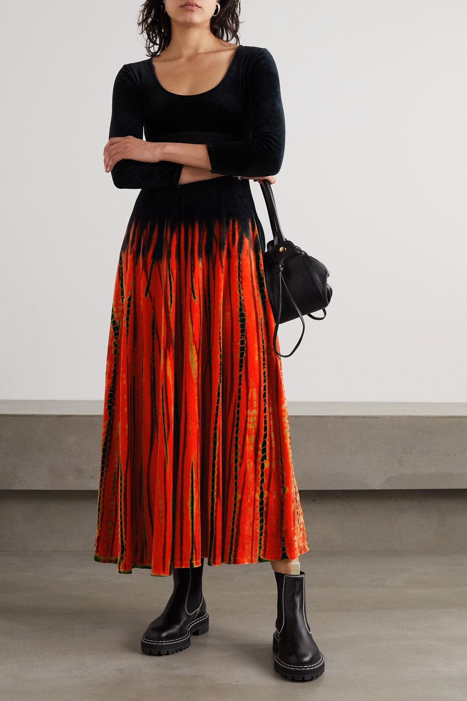 Proenza Schouler Tie-dyed velvet maxi dress