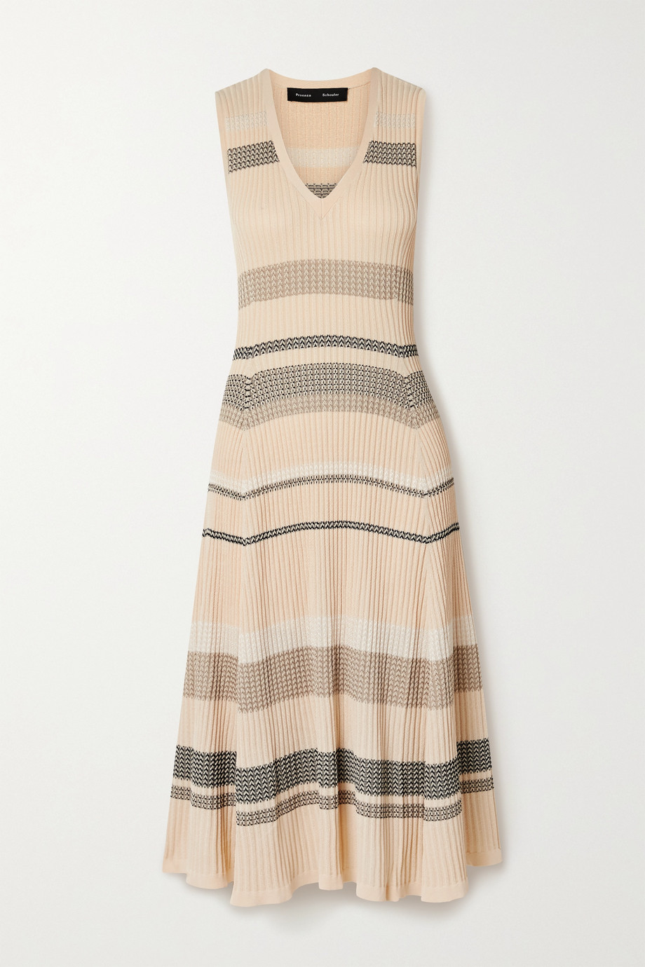 Proenza Schouler Striped ribbed-knit midi dress